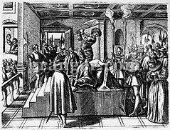 0126534 (Granger Historical Picture Archive) Tags: woman men castle english scotland interior mary royal queen engraving axe late elizabethan spectator punishment renaissance beheading execution maryqueenofscots executioner 1587 halberd halberdier fotheringay carouselcollection