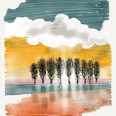 Pioppeto (claudio boccardo) Tags: pictures trees light sky italy nature water colors clouds landscape artwork paint seasons mantova mantua ipad madewithpaper