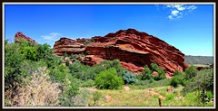 19 - Fusion (mastrfshrmn) Tags: statepark red sky panorama nature field outdoors photo scenery colorado colorful amphitheatre picture denver photograph redrocks amphitheater morrison hdr