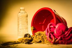 Week 29 - Portable Beach (DarkElfPhoto) Tags: sunset beach water bucket bottle sand shell snail octopus shovel pail