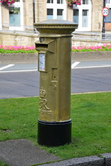 GOLD POST BOX, CHORLEY TOWN HALL, CHORLEY, LANCASHIRE, ENGLAND. (ZACERIN) Tags: london bronze silver gold town great medal olympic olympics  london great silver hall gold royal games olympics winner london gold mail olympic britain bronze team medal gb wiggins england bradley 2012 gold silver 2012 2012 bronze chorley lancashire olympic chorley