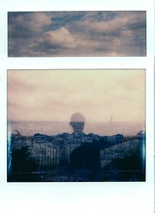 Camouflage in the city (marion (milky soldier)) Tags: spectra impossiblefilm impossibleproject polaroid paris iloveparis doubleexposure doubleexposedfilm parisianrooftops diptych sky clouds urban film instantfilm instantphotography