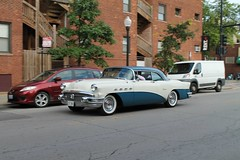Genuine Class (Flint Foto Factory) Tags: chicago illinois urban city summer august 2016 north lakeview 650 wcornelia cornelia broadway intersection 1956 buick super 2door coupe blue white twotone manufactured flint michigan hometown chrome moving inmotion motion portholes fenders beautiful american classic car generalmotors gm