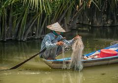 Hoi An Fisherman (Maren 86) Tags: vietnam asia travel water river rural boat hat fishing lumixg7 microfourthirds