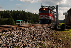Incoming (modestmoze) Tags: incoming going moving tracks metal rust rusty trees grass nature outside outdoors 2016 500px july summer lithuania day clouds sky blue grey white light middle bridge architecture constructions rocks hill shadows sunny cloudy lines travel transport view