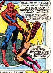 Oh golden sponge cake--cream filling! (Tom Simpson) Tags: spiderman madamweb comics comicbooks ad ads advertising advertisement twinkies hostess cake cream creamy vintage vintagead 1977 1970s