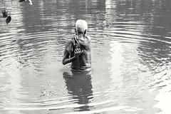 Dhaka, 2016. (rahat_kabeer) Tags: old lake bath oldage dhanmondi sun bnw street leaf shadow water reflection backside noon suddenly moment dhaka bangladesh 2016 canon eos canon6d 24105mm monochrome photography random isolated poor survive happy white hair hand movement cleaning body dirtwater hardlight