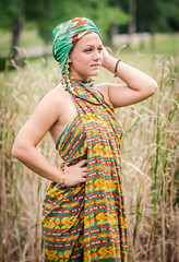 Goddess of the Hills (The Native Eye) Tags: portraits malongseries oceanwear sarong headdress beautiful 70200 f28 faces letrato newyork fingerlakes fashion traditionaldress