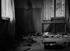 Left behind (markorsr) Tags: abandonedhouse kitchen floor windows window bw monochrome blackandwhite mess mamiyam645 mamiya mediumformat fomapan100 fomapan fomapanfilm reciprocity