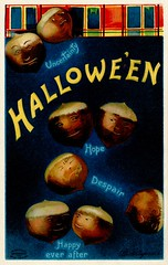 Halloween ChestnutsUncertainly, Hope, Despair, Happy Ever After (Alan Mays) Tags: ephemera postcards greetingcards greetings cards paper printed halloween holidays october31 couples men women fortunetelling games divination fortunes rituals customs chestnuts nuts fires fireplaces burning uncertainly hope despair happyeverafter happy happilyeverafter anthropomorphic anthropomorphism humor humorous funny comic strange unusual borders illustrations blue brown yellow red 1909 1900s antique old vintage typefaces type typography fonts clapsaddle ellenhclapsaddle artists postcardartists intartpubco internationalartpublishingco postcardpublishers artistsigned