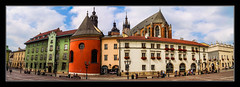 St. Mary's Basilica, Krakw (Kevin, from Manchester) Tags: architecture gothicchurch hdr historical krakow mediacity medieval poland stmarysbasilica square sky clouds panorama panoramic widescreen kevinwalker canon1855mm citycentre