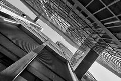 Downtown Toronto, hospital district (Timothy Neesam (GumshoePhotos)) Tags: taken during an afternoon tour alleys torontos hospital district toronto bw black white alley modern architecture ontario canada fuj fujifilm xt1