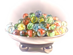 A Bowl Of Marbles (Jo Zimny Photos) Tags: odc marbles colourful bowl metal stand lightbox vignette