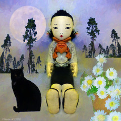 You are never too old to play with dolls (Lemon~art) Tags: doll cat daisies tree flowerpot fun naive simple texture manipulation moon whimsy mirrorimage smile happy cute precious preciouslotus blackcat