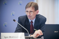 Igor Makhovikov listens on the panel