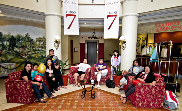 Group photo under Hotel Elizabeth Baguio's atrium