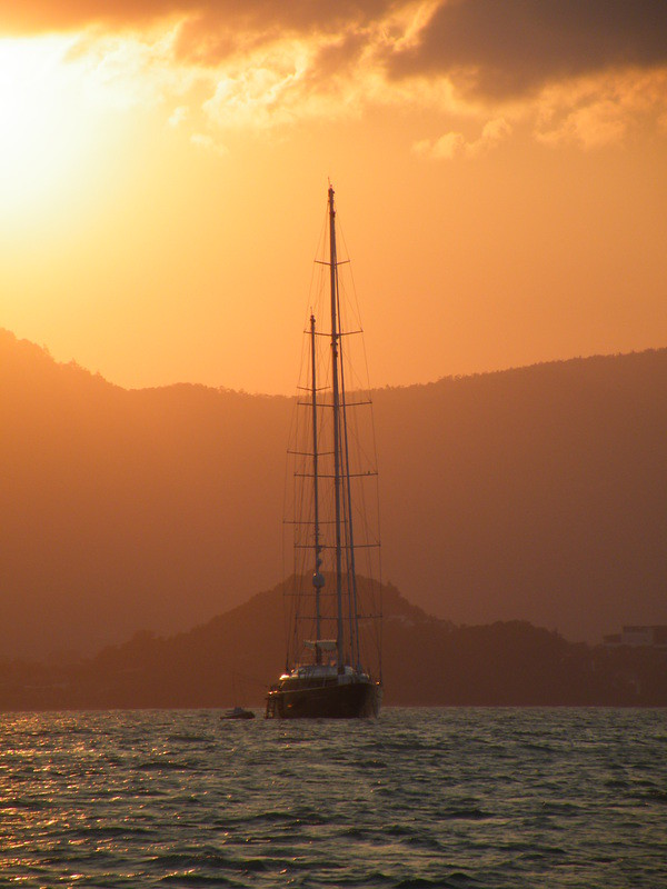 Yachting sunset off Ko Samui, Thailand
