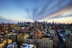 New York City on June 2, 2012 (mudpig) Tags: nyc newyorkcity longexposure sunset urban cloud newyork building amsterdam skyline architecture skyscraper geotagged nikon cityscape dusk centralpark midtown upperwestside gothamist bluehour f28 hdr d3 lighttrail mudpig traffictrail stevekelley 24mm70mm d3s stevenkelley