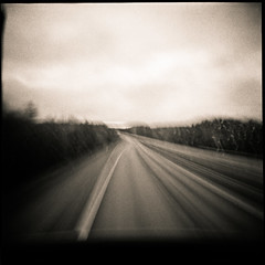 Riksvg 40, or Lost Higway (bildministeriet) Tags: 120 6x6 rain diy highway sweden accidents motionblur holga120n trix400 bulbsetting r09 riksvg40