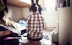 Camille le lundi (Mooglio) Tags: ikea girl shirt mess bunkbed lumberjack