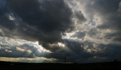 Breakthrough (Future-Echoes) Tags: light shadow sky clouds evening cables shade pylons essex beams