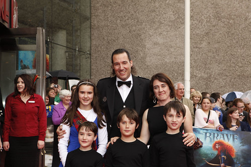 Mark Andrews and his family on the red carpet for the European premiere of Brave at the Festival Theatre