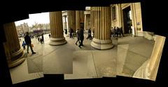 British Museum entrance (Benjamin Buttony) Tags: london museum walking time columns steps tourists bloomsbury britishmuseum pillars photocollage