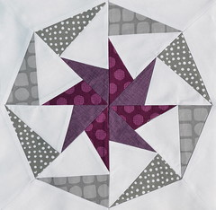 Block for CraftyMamaD (jenjohnston) Tags: grey star purple plum pinwheel quiltblock paperpieced quiltingbee