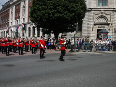 "P1020179-1 1st Battallion The Yorkshire Regiment March in Leeds uk. (Lawrence Holmes.) Tags: uk west army lumix 1st yorkshire leeds band police mounted soldiers g2 pancake brass regiment ""the battalion 14mm ""west police"" 1yorks regiment"""