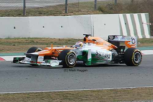 Paul di Resta in his Force India at Formula One Winter Testing, Circuit de Catalunya, March 2012