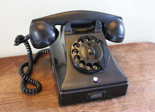 Old black Bakelite phone
