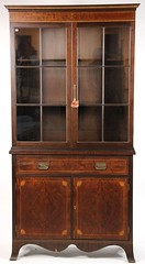 51. Hepplewhite style Inlaid Flatwall China Cabinet