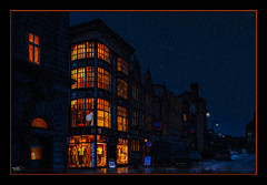 Westgate House (Kevin From Manchester) Tags: architecture canon1855mm cars england gradeiilistedbuilding hdr huddersfield kevinwalker night outdoor rain reflection shops sky westgatehouse windows