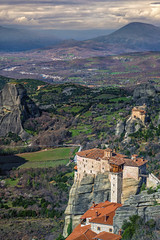 Meteora valley (mika_wist) Tags: greece meteora mountains clouds monastery cliffs