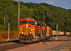 """Westbound Empty Coal Train in Nodaway, MO (""""Righteous"""" Grant G.) Tags: bnsf railway railroad locomotive empty coal missouri west westbound train trains"""