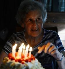 birthday cake (thaneladner) Tags: 85 grandmother oma cake birthday candles celebrate