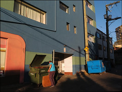 Color in the Alley (HereInVancouver) Tags: alley candid colors dumpsterdiving vancouverswestend streetphotography longsunlight vancouver bc canada denmanstreet