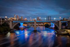 Minneapolis Night (Tom Hughes Photo) Tags: minnesota minneapolis bridge i35w blue mississippi river longexposure canon morning