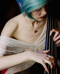 Blue haired woman with Venetian double bass (ektarama) Tags: ektarama mamiya rb67 film fuji 160s sekor 140mm macro softbox vancouver bc doublebass contrabass venetian