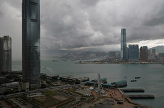 """""""a storm is coming ..."""" (iv) (hugo poon - one day in my life) Tags: xpro2 23mmf2 hongkong central victoriaharbour westkowloon kowloon ifc icc hkobservationwheel skyline skyscrapers architecture sky cloud stormy reclamation summer starferry"""
