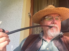 Self with pipe (arensee) Tags: pipe gandalf lordoftherings doorstep porch