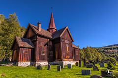 Tor Magnus Anfinsen-000162 (Tor Magnus Anfinsen) Tags: rollag stave church numedalslågen apse gallery norge norway hdr green blue graveyard trees tree nikon