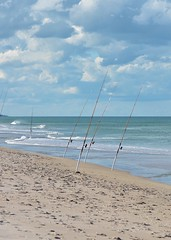 Lines Out (Bo Chambers) Tags: beach water coast fishing sand surf day waves florida cloudy salt shoreline atlantic pole shore coastline rods surffishing angling