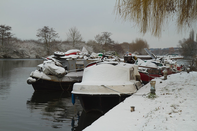 Snow Covered Boats on the Thames in Reading