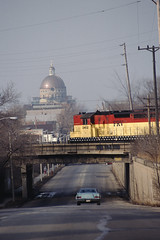 Milwaukee South Side Scene (IndustRail) Tags: railroad bridge wisconsin basilica milwaukee 1990 cnw sd24 foxrivervalleyrailroad frvr stjosiphat