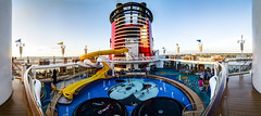 Disney Magic Cruise Ship 180 HDR (Vivid Pixel) Tags: wood cruise blue sunset red sky panorama white water pool yellow clouds mouse ship top slide flags mickey 180 deck railing swimmig