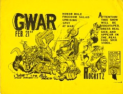 GWAR Honor Role Freedom Salad Uprising Spot At War Taped Show Feb 21 Rockitz (A.Currell) Tags: show old rock print freedom salad war punk 21 band honor spot richmond bands va 80s shows gwar feb advertisements 1980s flyers 1990s 90s uprising flier role taped zerox offs rockitz at