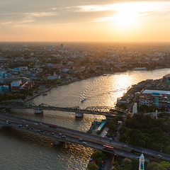 Before Sunset (Weerakarn) Tags: bridge cruise sunset sky river landscape thailand boat warm bangkok expressboat chaophraya  saphanphut    weerakarn