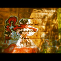 Creature (Andrew Aliferis) Tags: park sun art andy tongue stone graffiti md eyes paint shadows state teeth maryland andrew valley aga iphone patapsco forked aliferis instagram