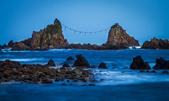Mitsuishi Blue Hour (arcreyes [-ratamahatta-]) Tags: longexposure moon japan night landscape rocks waves clear bluehour peninsula  manazuru   mitsuishi  kanagawaprefecture   supermoon ashigarashimodistrict